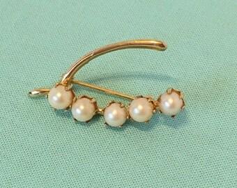 Genuine Pearl Wishbone Brooch -1960's