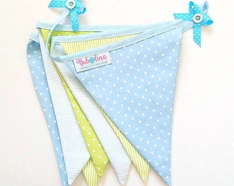 Fabric Bunting Flag Banner, Nursery Wall Decor, Garland Flags, Photography Prop