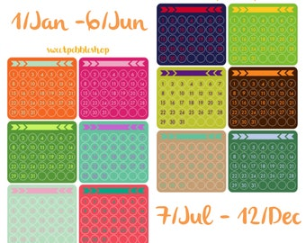 Monthly Date Dots - Erin Condren Notebook