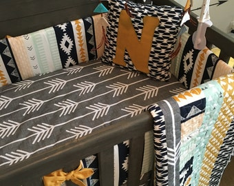 The Noah Collection | Rustic Crib Bedding | Baby Bedding Boy | Southwestern Navajo Nursery Decor | Arrows Teepees | Mint Navy Grey Gray Gold
