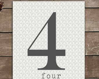 Numbers Print, 4, Four, Vintage Inspired, Typography Art