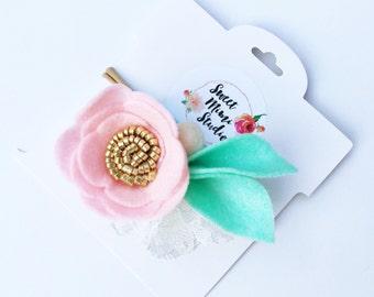 Felt Flower Headband - Baby Flower Headband - Baby Nylon Headband - Toddler Headband - Pink Flower Headband - Flower Girl Headband