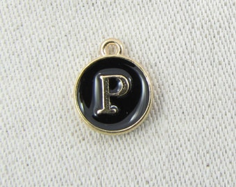 """Black and Gold Enamel Letter """"P"""" Charm, 1 or 5 letters per package  ALF003p-B"""