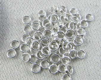 75 pieces, Silver Plate, Split Jump Rings, 4mm Jump Rings, Silver Split Rings, Jump Rings, Charm Jump Rings, Jump Rings Silver, FIN033