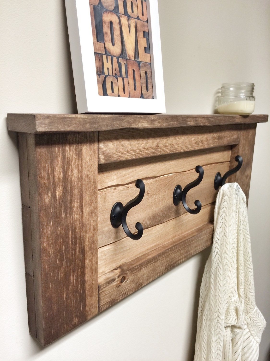 Rustic wooden entryway walnut coat rack rustic wooden shelf for Rustic home decor and woodworking