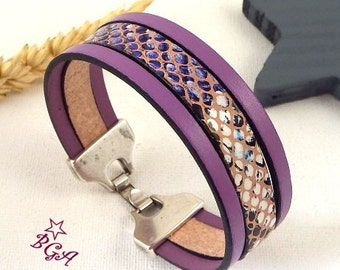 Kit tutorial bracelet leather snake and lilac clasp silver plated