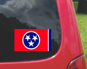 2 Pieces Tennessee  State Flag Vinyl Decals Stickers Full Color/Weather Proof. U.S.A Free Shipping
