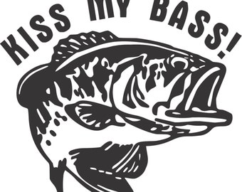 Set (2 Pieces) Kiss My Bass  Sticker Decals 20 Colors To Choose From.  U.S.A Free Shipping