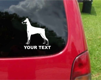 Set (2 Pieces)  Doberman Pinscher  Dog  Sticker Decals with custom text 20 Colors To Choose From.  U.S.A Free Shipping