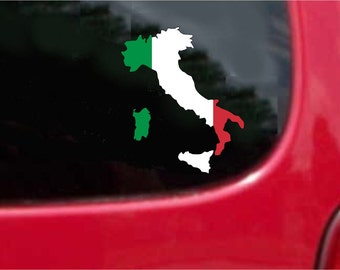2 Pieces Italy Outline Map Flag Vinyl Decals Stickers Full Color/Weather Proof. U.S.A Free Shipping
