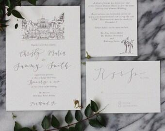 Custom Calligraphy Wedding Invitation - Pacific - RSVP, Accommodations and Invitation