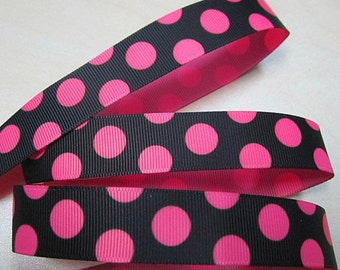 7/8 inch  - BIG PINK POLKA Dots On Black -    - Printed Grosgrain Ribbon for Hair Bow
