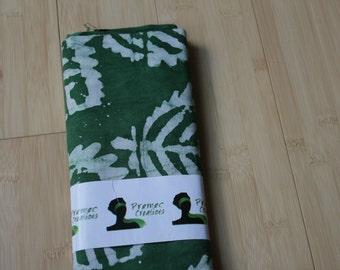 Handmade Fair Trade Green & White Leaf African Batik Fabric 2 yards