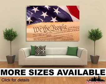 Wall Art Giclee Canvas Picture Print Gallery Wrap Ready to Hang Old American Constitution USA Flag - 60x40 48x32 36x24 24x16 18x12 3.2