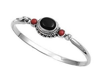 925 Sterling Silver Black Onyx and Carnelian Bangle Bracelet with Hook Clasp