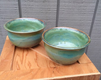 Set of 2 wheel thrown cereal bowls