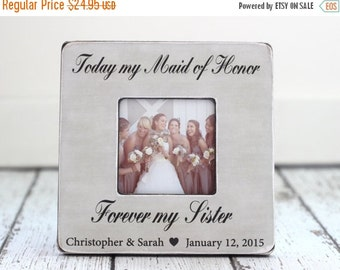 SALE Maid of Honor Sister Personalized Picture Frame Wedding Thank You Gift Rustic Country Beach Wedding Bridesmaids
