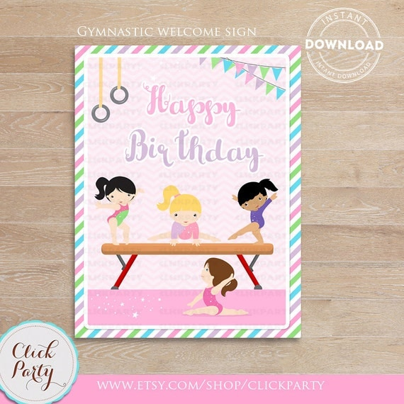 Gymnastic Happy Birthday Sign Party Printable Door