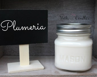 Plumeria Candle. Soy Wax Mason Jar Candle. Plumeria. Hand Poured. Pure Soy Wax. Plumeria Scented Candle.