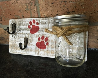 Rustic Reclaimed Wood Dog leash holder w/treat jar/dog collar holder/dog leash hanger/dog treat and leash holder with hook/pet gift