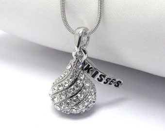 Crystal White Gold Plating Hersheys Chocolate Kiss Necklace, Chocolate Kiss Jewelry, Hershey Kiss Necklace w Gift Box