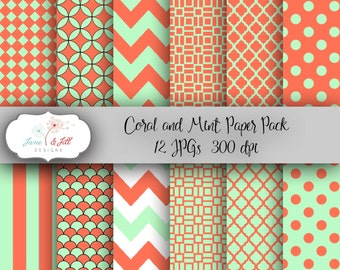 Coral and Mint Digital Paper Pack, 12 12x12 JPGs 300 dpi Scrapbook Personal & Small Commercial Use- Instant Download
