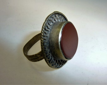 Old oriental Ring with Carnelian stone, US Size 7