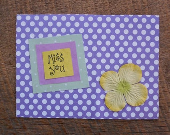 Friendship Card- Miss You Card- Long Distance Card- Long Distance Relationship - Long Distance Gift- Handmade Card- Greeting Card- Miss You