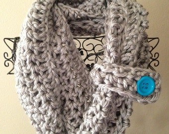 Crocheted Infinity Scarf with button