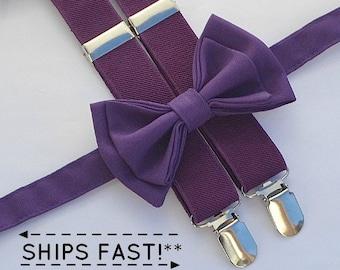 Eggplant Purple Suspenders & Dark Purple Bow Tie -- Ring Bearer Outfit -- Bow Tie Suspenders