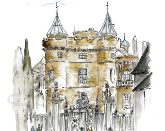 Holyrood Castle, Edinburgh, illustration, original drawing