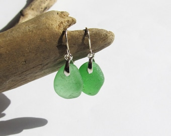 Beautiful Green sea glass earrings - genuine beach glass earrings beach earrings eco friendly earrings green girl earrings gift idea (SGE-7)