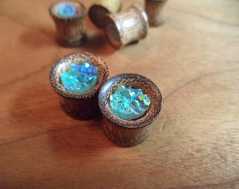 Aqua Blue Stone - Coconut Wood Gauges - Pick your size