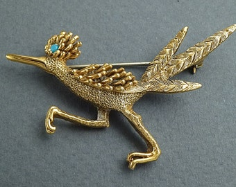 10 K Gold Roadrunner Brooch with Turquoise by Fortolame c.1950s