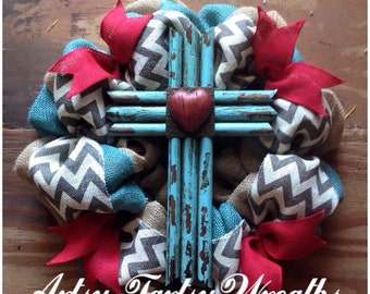 Rustic Cross Wreath, Grogeous Turquoise and Red Cross Wreath, Burlap Cross Wreath, Rudtic Wreath