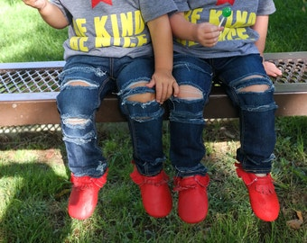 Sweet Tea Skinnies // Girls Ripped Skinny Jeans // Distressed Denim for Babies, Toddlers, and Kids // Distressed Skinnies