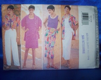 Butterick 4549 Misses Shirt Top Skirt Pants Sarong Easy Sewing Pattern Sizes XS-S-M