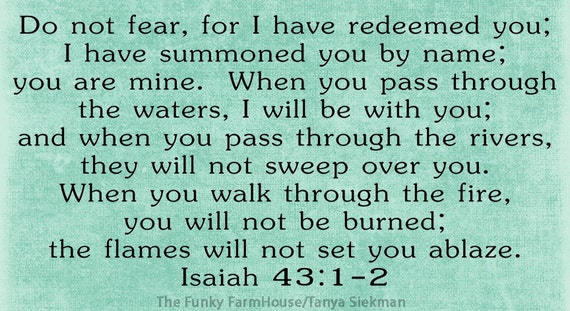 SVG & PNG - Do not fear, for I have redeemed Isaiah 43:1-2