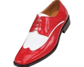 Mens red and white leather shoe,men wingtip derby shoes