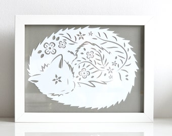 Framed paper cut 'Floral Kitty' print 18 x 24cm