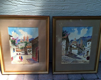 Set of two watercolor paintings