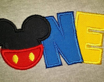 Mickey Mouse 1st Birthday Embroidery tshirt, Mickey Birthday Shirt, One Birthday Shirt, Boys first birthday shirt, Mickey Mouse Clubhouse