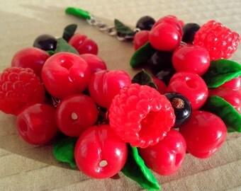 Handmade Polymer Clay Berry Bracelet - Summer
