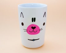 Cat face ceramic mug without handle - Hand decorated!