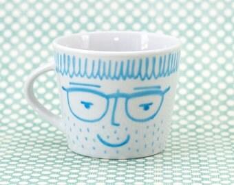 Funny face - espresso ceramic mug