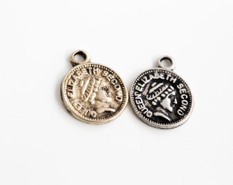 Queen Elizabeth Pendant,Queen Elizabeth pendant ,Jewelry Component,jewelry findings,coin pendant,vintage inspired pendant,DIY necklace