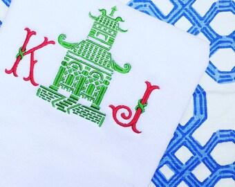 Embroidered Monogram White Bath Tub Mat