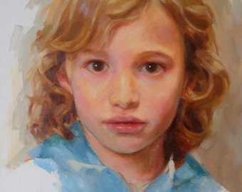 EXAMPLE ONLY. 12x16 Oil Painted Portrait, Custom, Child, Colorful Art, Canvas