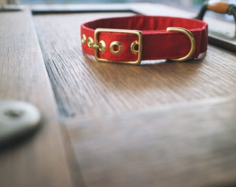 Red Linen + Brass Dog Collar - Made in Melbourne