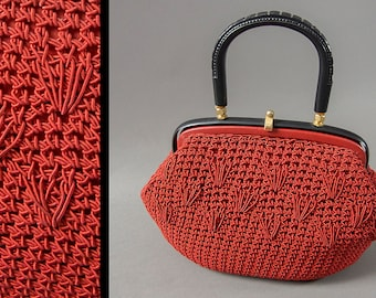 Vintage 1950's Candy Apple Red Purse, Knit Cord, Made in Italy